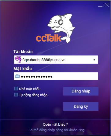 Đăng nhập ccTalk: Có thể đăng nhập bằng tài khoản Zing ID hoặc tài khoản  chơi 2U. Chưa có tài khoản, vui lòng nhấn vào Đăng ký nhanh để tạo mới.