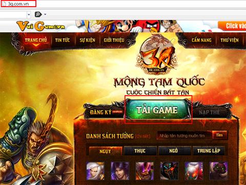 """Nhấn vào nút """"Tải game"""" trên trang chủ 3q.com.vn."""
