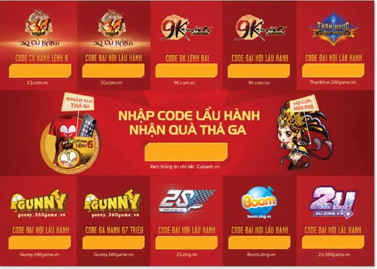 Code Đại Hội Lẩu Hành là một bộ code bao gồm nhiều code của 7 game: