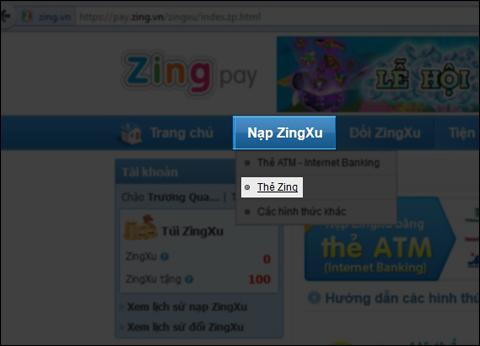 Nạp thẻ tại Pay.Zing.Vn
