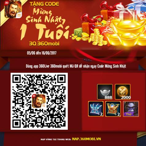 Để sở hữu món quà này, Chúa Công hãy dùng App 360Live 360mobi, quét mã QR  để nhận ngay nhé!