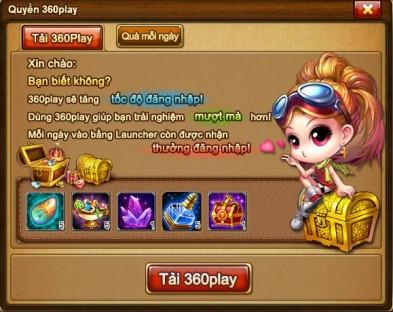 Hình ảnh minh họa cho phần thưởng Tải 360Play lần đầu