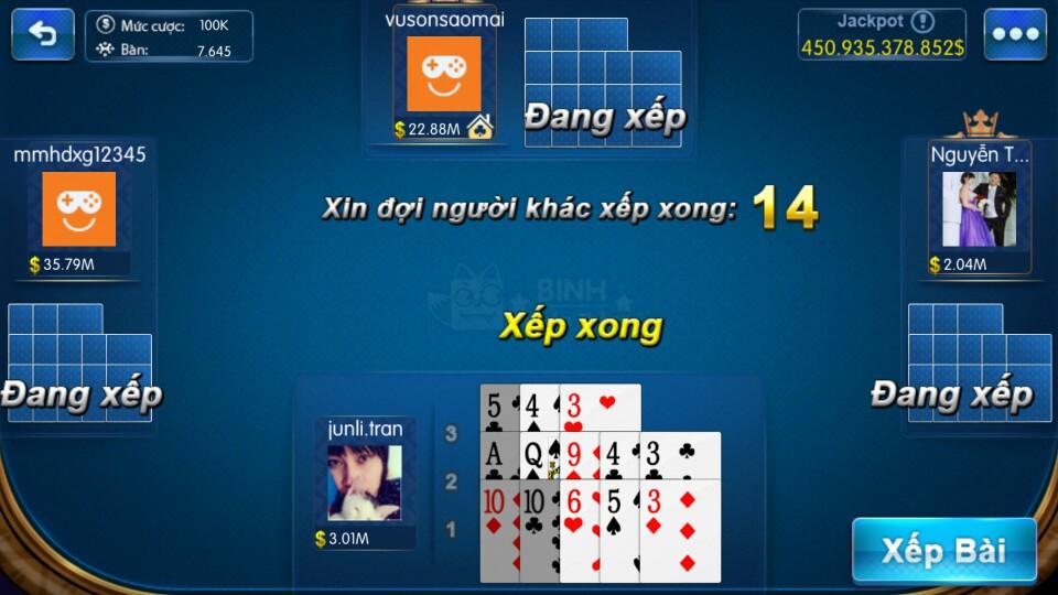 Game đánh bài Mậu Binh online tính chi Át