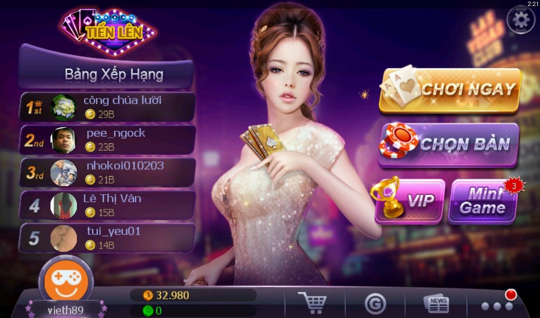 Game chơi bài tiến lên miền nam online mobile